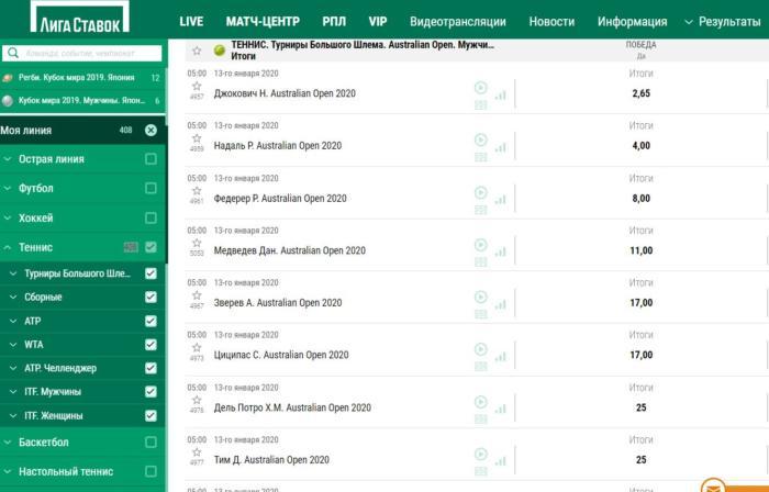 ищем теннис на портале Лиги
